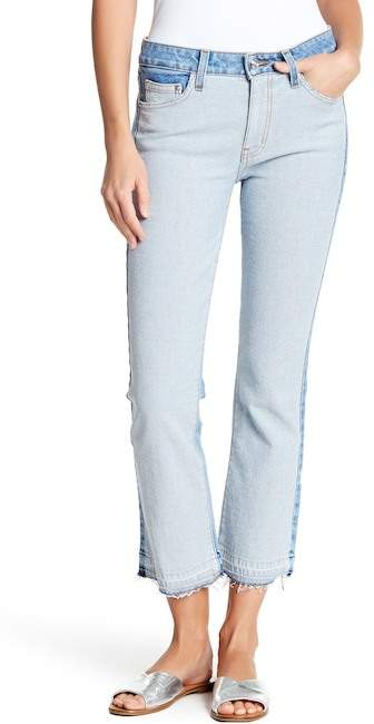 Derek Lam 10 Crosby Denim Gia Mid Rise Cropped Flare Two Tone Jeans
