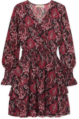 MICHAEL Michael Kors Tiered Printed Crepe Dress