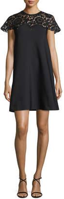 Valentino Rockstud Lace-Yoke Babydoll Dress