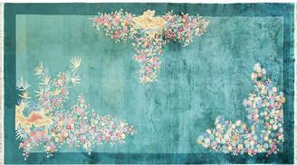 """One Kings Lane Vintage Green Art Deco Carpet - 6'10"""" x 12'9"""" - Eli Peer Oriental Rugs"""