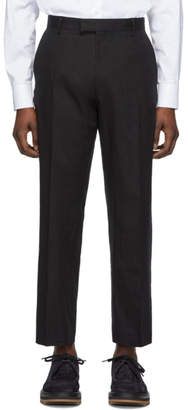 Dries Van Noten Black Linen Pen Trousers