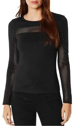 Karen Millen Studded Mesh-Inset Top