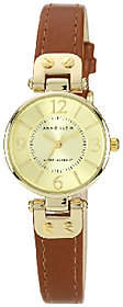 Anne Klein Anne Klein Goldtone Dial & Brown Faux Leather Strap Watch