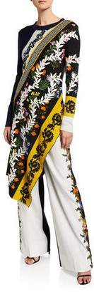 Oscar de la Renta Long-Sleeve Asymmetric Embroidered Knit Tunic
