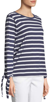 Joan Vass Tie-Sleeve Nautical-Stripe Tee