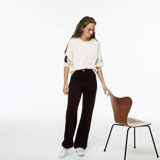 Lacoste Women's Boxy Fit Striped Cotton Velour Pants
