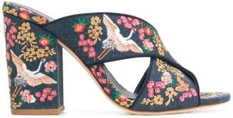 Ash floral embroidered block heel sandals