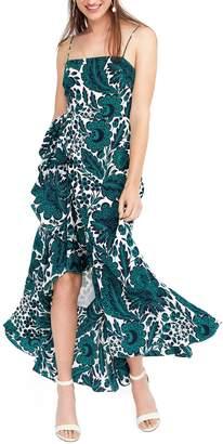 J.Crew Ruffle High/Low Silk Dress