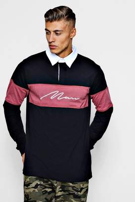 boohoo Long Sleeved Contrast Man Panel Rugby Polo