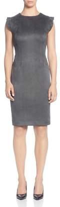 T Tahari Faux-Suede Flutter-Sleeve Dress