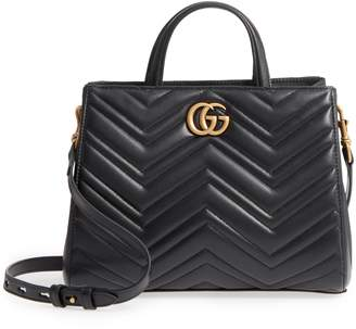 Gucci GG Small Marmont 2.0 Matelasse Leather Top Handle Satchel