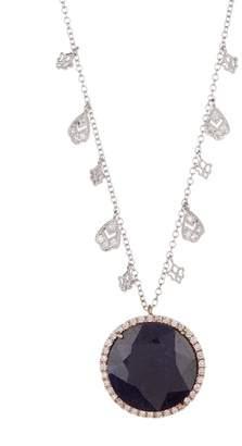 Meira T 14K White Gold Blue Sapphire & Diamond Charm Necklace - 0.39 ctw