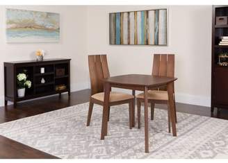 Barrington Flash Furniture 3 Piece Walnut Wood Dining Table Set with Wide Slat Back Wood Dining Chairs - Padded Seats