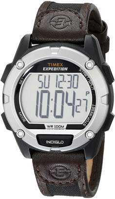 Timex Men's T49948 Expedition Digital CAT Black/Brown Mixed Material Strap Watch
