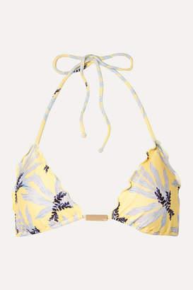 Vix Lily Embellished Printed Triangle Bikini Top - Yellow