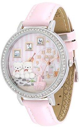 Mini ダーメンファッション韓国のカップルベアーベルトレディース腕時計 ピンク