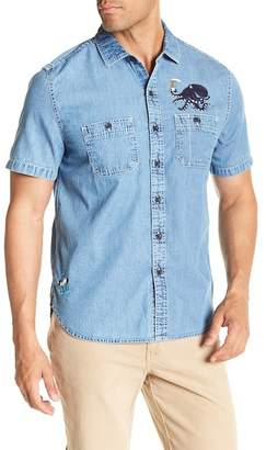 Michael Bastian Octopus Embroidered Short Sleeve Shirt