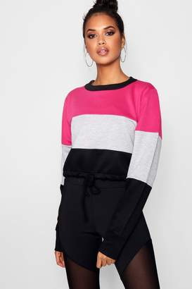 boohoo Belle Athleisure Colour Block Crop Sweat