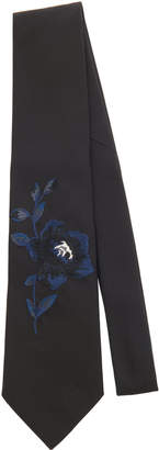 Alexander McQueen Floral-Embroidered Silk-Faille Tie