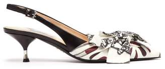 Prada Lipstick Print Slingback Kitten Heel Leather Pumps - Womens - White Multi