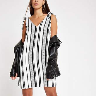 River Island Womens Cream stripe V neck slip dress