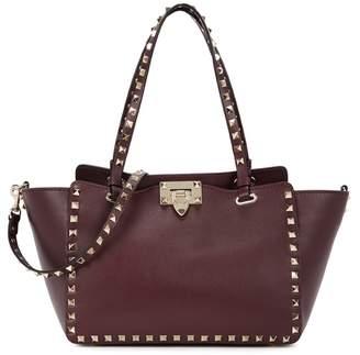 Valentino Rockstud Small Bordeaux Leather Tote