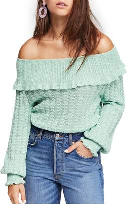 Free People Crazy in Love Ruffle Off the Shoulder Top