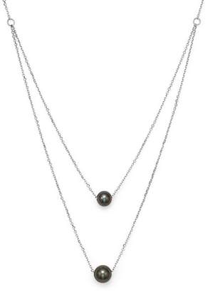 "Bloomingdale's Cultured Tahitian Black Pearl Two Row Necklace in 14K White Gold, 17"" - 100% Exclusive"