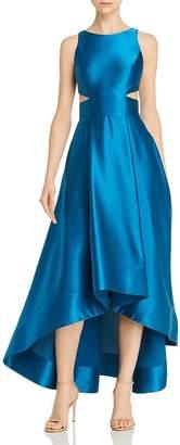 Aidan Mattox Liquid Satin Cutout Gown