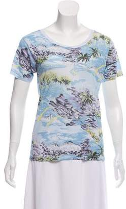 Saint Laurent Printed Crew Neck T-Shirt