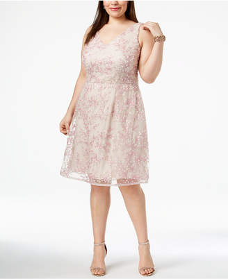Adrianna Papell Plus Size V-Neck Tulle & Lace Dress