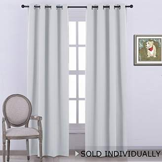 NICETOWN Room Darkening Window Curtain Panel - (Greyish White/Silver Grey Color) Solid Thermal Insulated Blind Privacy Drape for Bedroom