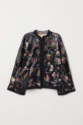 H&M Sequin-embroidered Jacket - Blue