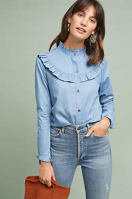Eri + Ali Ruffled Denim Buttondown