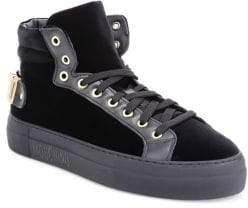Moschino Leather& Velvet High-Top Sneakers