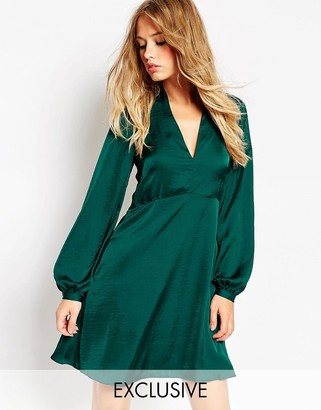 Needle & Thread Satin Skater Dress With Bell Sleeve $233 thestylecure.com