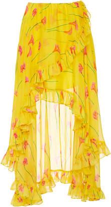 Caroline Constas Adelle Ruffle Printed Skirt