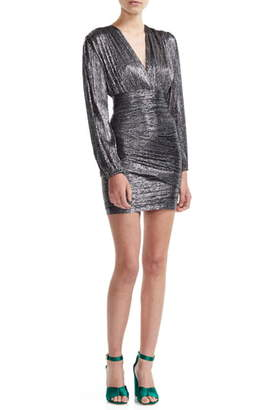 Maje Runny Long Sleeve Metallic Minidress