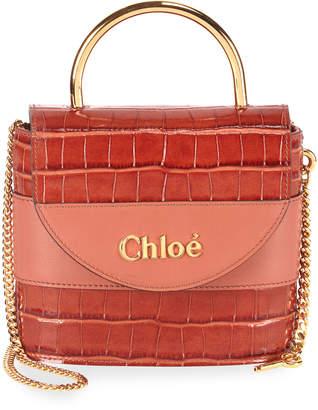 Chloé Aby Lock Croco-Embossed Shoulder Bag with Metal Top Handle