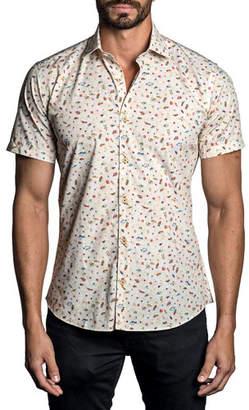 Jared Lang Men's Fish-Print Short-Sleeve Sport Shirt