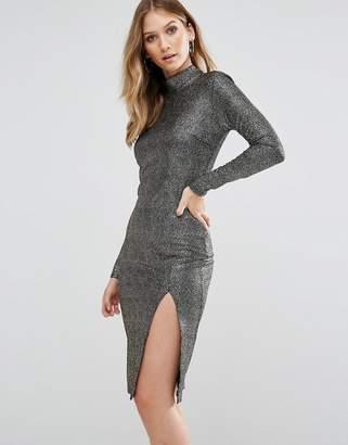Club L High Neck Textured Metallic Bodycon Dress With Thigh Split