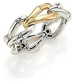 John Hardy Women's Bamboo 18K Yellow Gold & Sterling Silver Link Bangle Bracelet