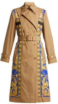 Versace Lovers Baroque Print Double Breasted Trench Coat - Womens - Black Gold