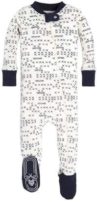 Burt's Bees Cross Stitched Organic Baby Zip Up Footed Pajamas