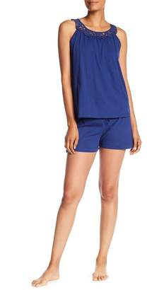 Catherine Malandrino Cutout Tank Top & Shorts Pajama 2-Piece Set