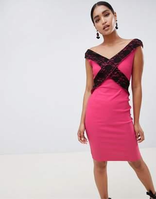 Vesper cross front lace pencil dress