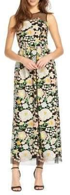 ML Monique Lhuillier Floral Embroidery Cocktail Dress