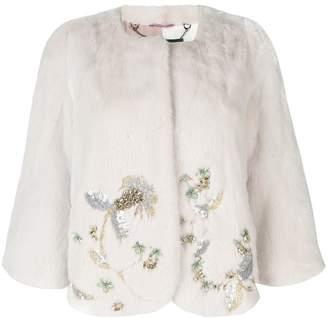 Cara Mila Jasmine Embellished Mink Jacket