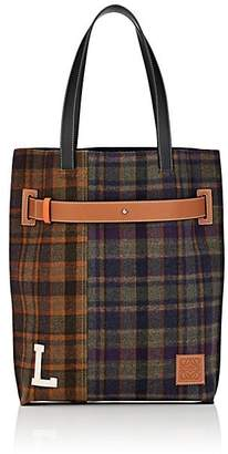 Loewe Men's Leather-Trimmed Patchwork Plaid Tote Bag - Multicolor