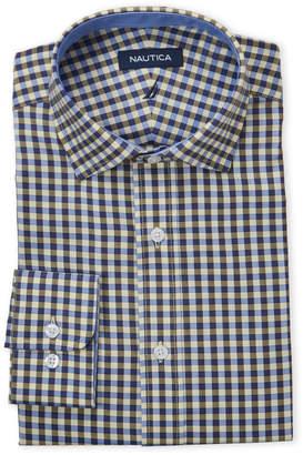 Nautica Blue & Yellow Gingham Stretch Classic Fit Dress Shirt